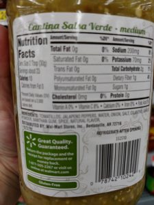 Great Value Cantina Salsa Verde label