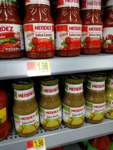 Herdez Salsa Casera or Verde on store shelf