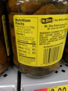Mt Olive No Sugar Added Sweet Gherkins label