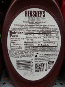 Hershey Sugar Free Syrup label