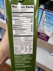 Coconut Beverage unsweetened label