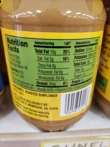 Sunflower Seed Spread label