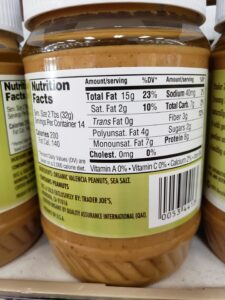 Organic Peanut Butter; salted label