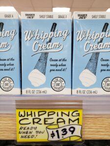 Whipping Cream shelf stable