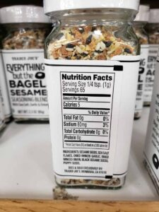 Everything but the Bagel Sesame Seasoning Blend label