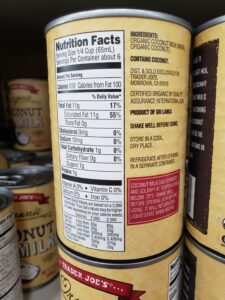 Organic Coconut Milk label
