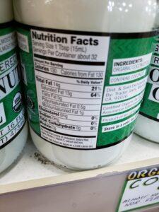 Organic Triple Filtered Coconut Oil label