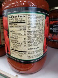 Organic Marinara Sauce label