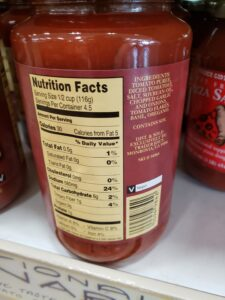 Traditional Marinara Sauce label