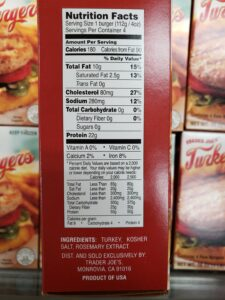 Turkey Burgers label