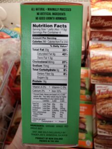 Uncooked Grass Fed Angus Beef Burgers label