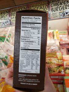 Uncooked Ground Buffalo Burgers label
