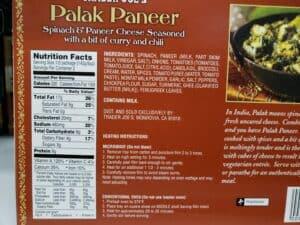 Palak Paneer label