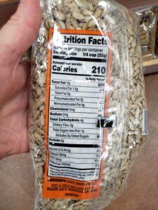 Raw Sunflower Seeds label