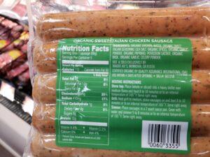 Organic Sweet Italian Chicken Sausage label