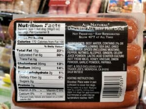 All Natural Beef Hot Dogs label
