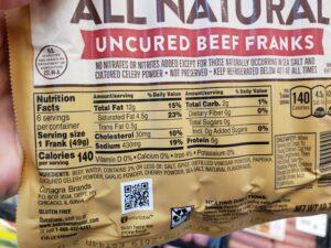 Hebrew National All Natural Beef Franks label