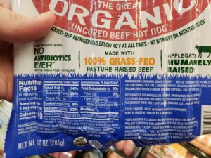 Applegate Organic Uncured Beef Hot Dog label