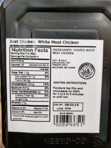 Just Chicken White Meat Chicken label