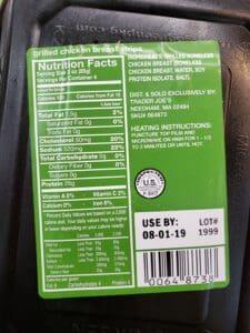 Grilled Chicken Strips label
