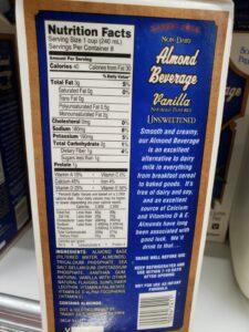 Almond Beverage Unsweetened; vanilla label