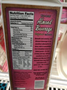 Almond Beverage Unsweetened; original label