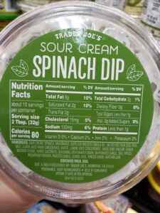 Sour Cream Spinach Dip label