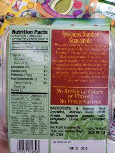 Avocado's Number Guacamole label