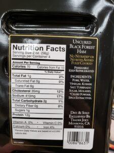 Uncured Black Forest Ham label
