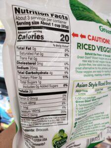 Green Giant Riced Veggies; Broccoli label