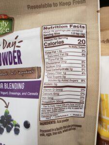 Earthly Choice Acai Powder label