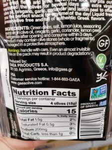 Gaea Olive Snack; Green, Kalamata & Marinated Green label