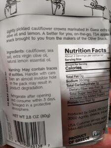 Gaea Cauliflower Snack label