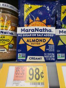 MaraNatha No Sugar or Salt Added Almond Butter packets