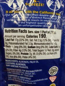 MaraNatha No Sugar or Salt Added Almond Butter packets label