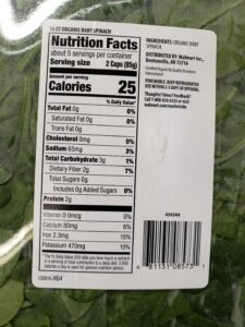 Baby Spinach label