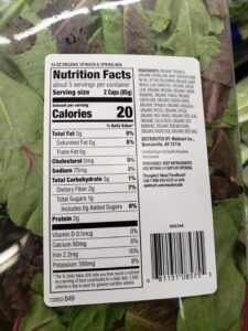 Spinach & Spring Mix label