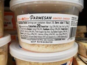 Bella Rosa Parmesan cheese label