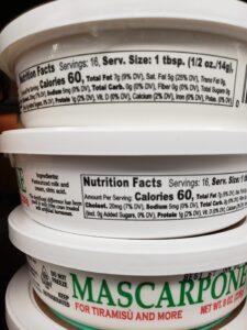 Mascarpone label