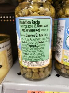 canned Capers label