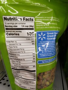 Great Value Lightly Salted Shelled Pistachios label