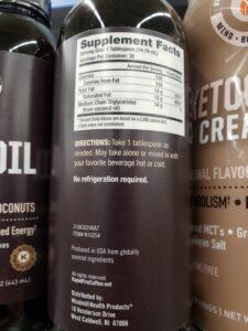 Rapid Fire MCT Oil label