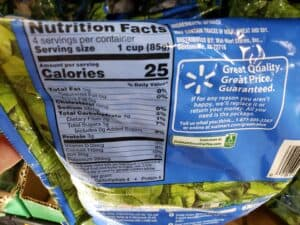 frozen spinach label