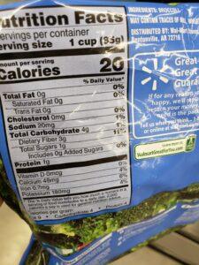 frozen Broccoli label