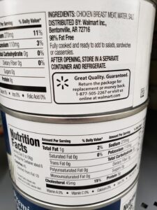 Great Value Premium Chunk Chicken Breast label