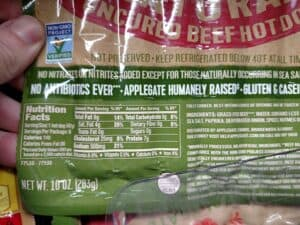 Applegate Natural Uncured Beef Hot dogs label