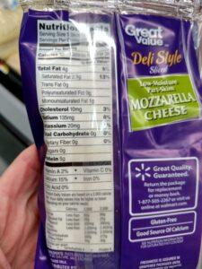 Great Value Deli mozzarella Slice Cheese label