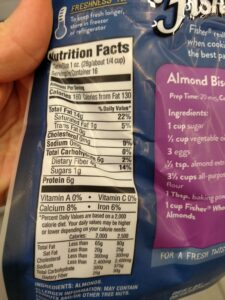 Fisher Whole Natural Almonds label