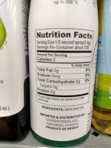 Chosen Foods Avocado Oil Spray label