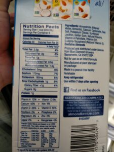 Almond Breeze Almond Milk Unsweetened label